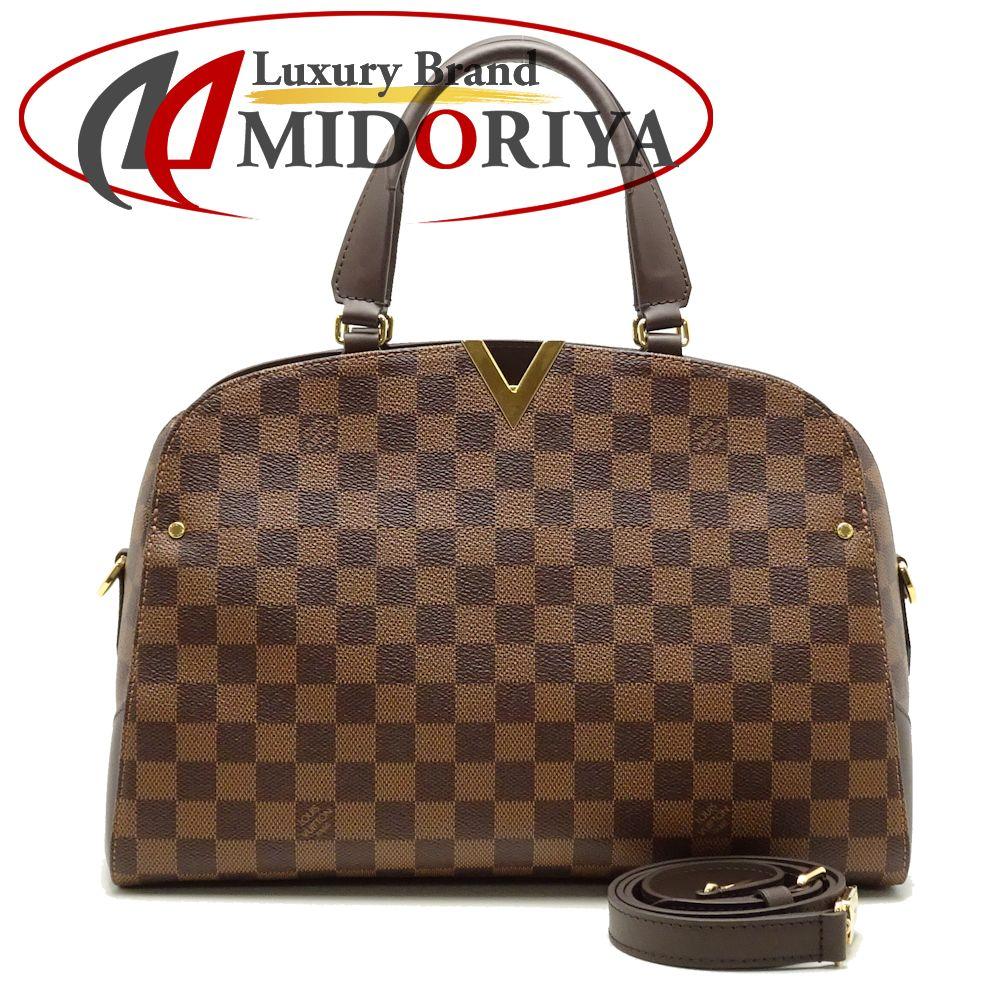 57ac611cb30f MINT! Auth LOUIS VUITTON Damier Ebene Kensington Bowling 2WAY Handbag   051231