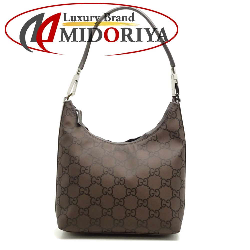 bd353c82e3b6 Gucci GUCCI 28335 one shoulder bag GG pattern nylon X leather dark brown  outlet /051299