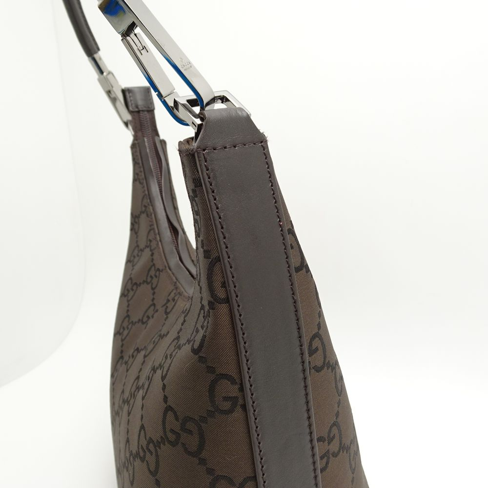 52cb7df3df4 Gucci GUCCI 28335 one shoulder bag GG pattern nylon X leather dark brown  outlet  051299