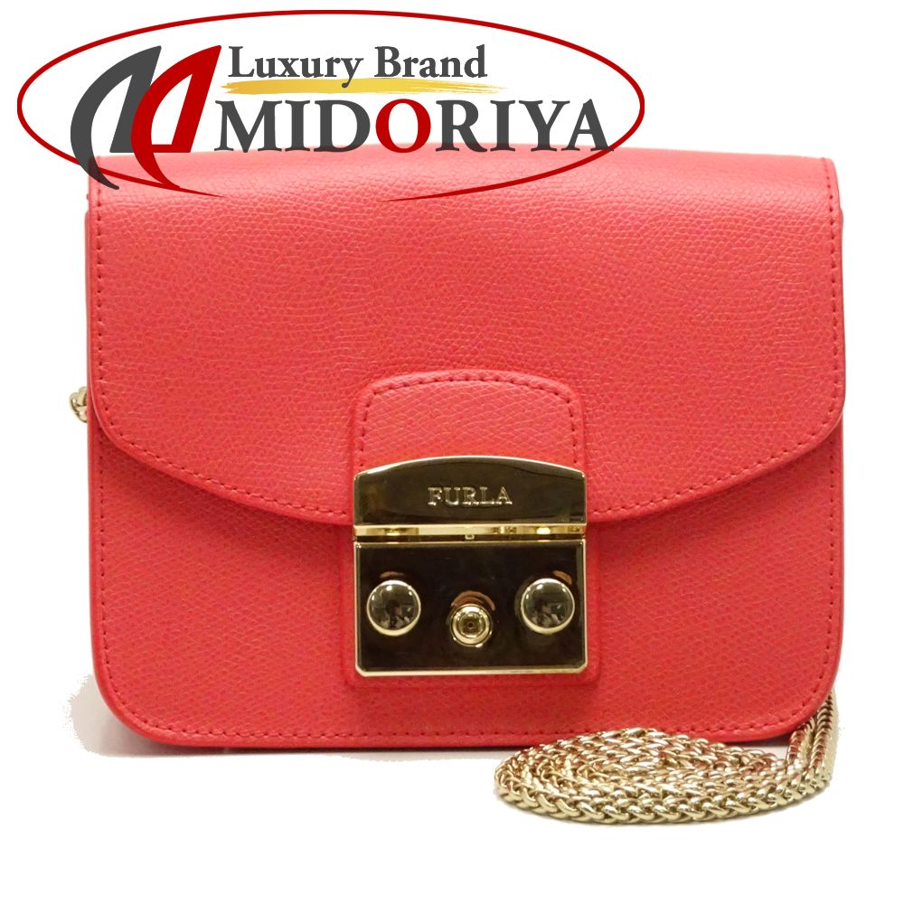 Pawn Shop Midoriya Phase Take Furla G6400 Metropolis Mini Crossbody Authentic Slant Leather Pink Chain Shoulder 051582