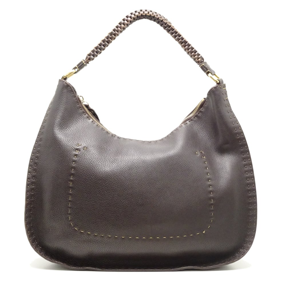 be99f14f5fab Pawn shop MIDORIYA PHASE  Authentic FENDI Selleria Shoulder Bag 8BR582 Dark  Brown  051629 FREE SHIPPING