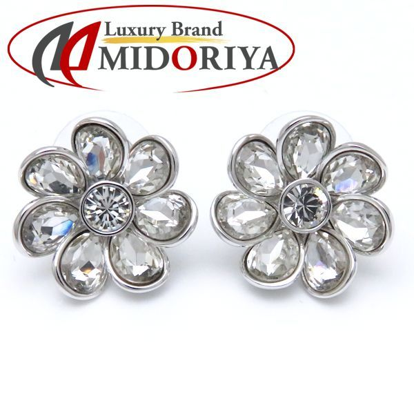 Auth Swarovski Silver Plated Flower Earrings Crystal 098359 Free Shipping