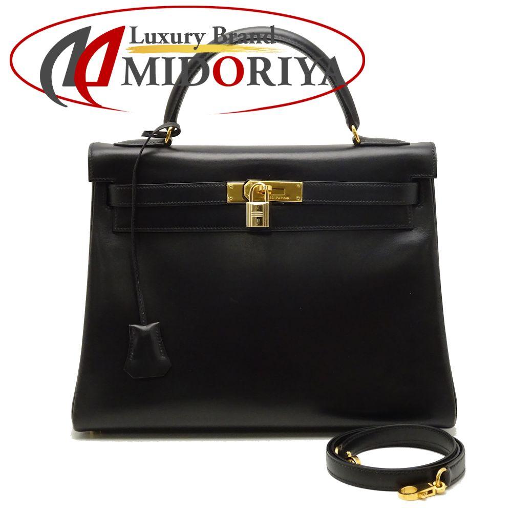 高質 エルメス HERMES ケリー32 ボックスカーフ ブラック 黒 ハンドバッグ/051861【】, Smart Style 5336bb8e