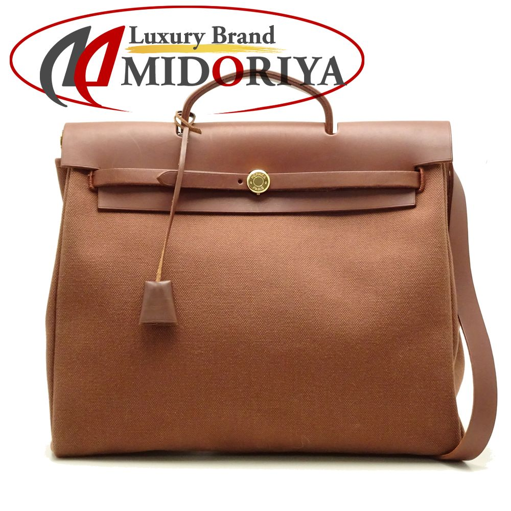 eaeccf185 Authentic HERMES Her Bag MM 2WAY Handbag Toile H Leather Brown /051874 FREE  SHIP ...