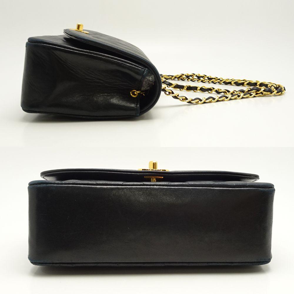 5c91dc24dd7 Auth CHANEL Matelasse Diana Flap Chain Shoulder Bag A01164 Lambskin  Black 051883