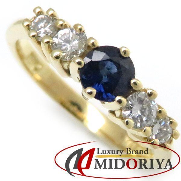 ティファニー TIFFANY サファイヤリング サファイア1P ダイヤモンド4P 18KYG 5号 指輪/098794【中古】