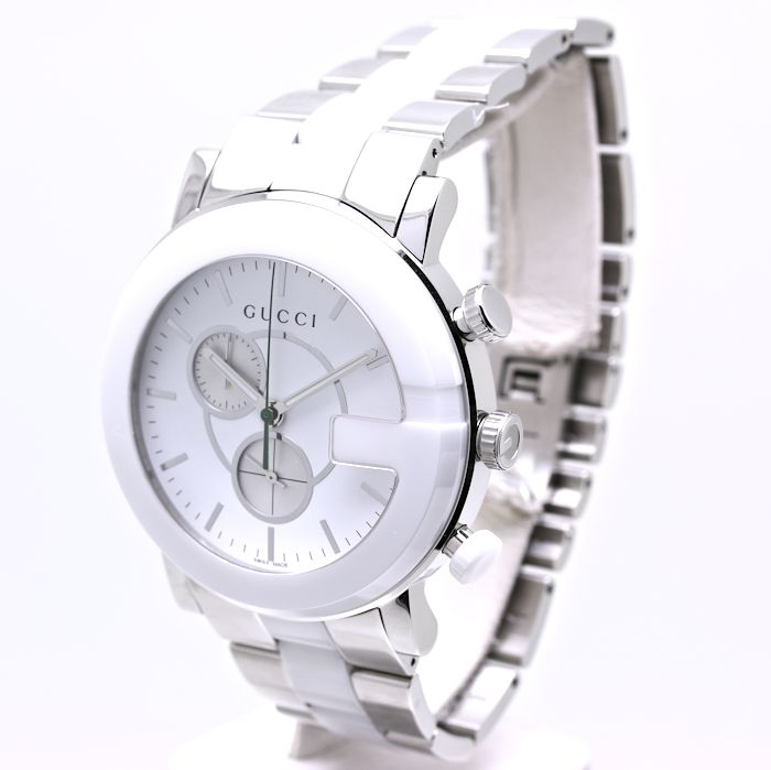 75bbd59c805 GUCCI G Chronograph YA101345 101M Stainless Steel Ceramic Men s Watch 35649