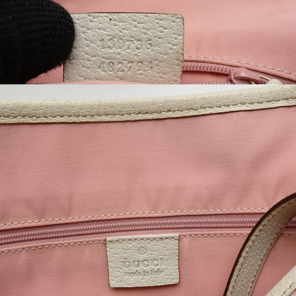 c160f5886c1f17 ... Authentic GUCCI GG Pattern Tote Bag 130736 Canvas × Leather Pink ×  White /052688 FREE ...