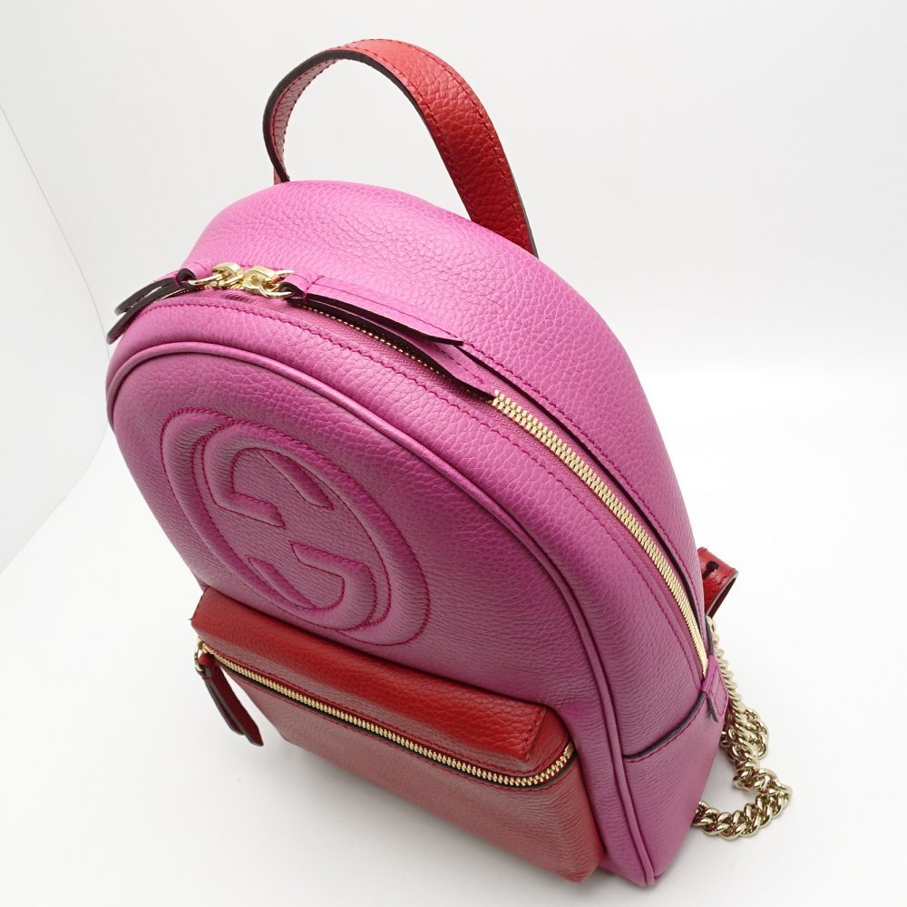 d3d5451570b922 ... 431570 Gucci GUCCI ☆ unused Soho backpack leather pink X red rucksack  /052689 ...
