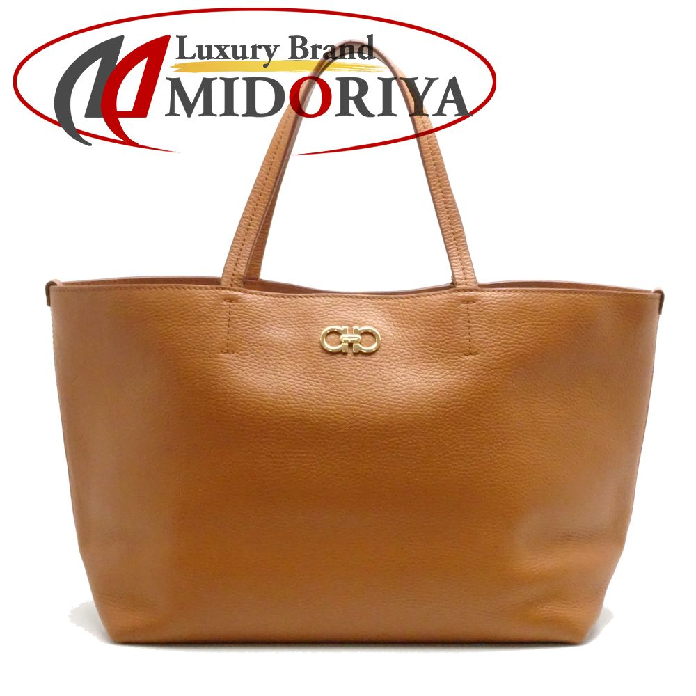 a4fc868867d1 Authentic SALVATORE FERRAGAMO Gancini Tote Bag 21D766 Leather Brown 052395  FREE SHIPPING