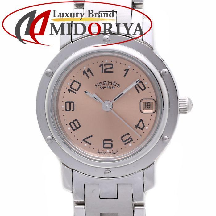 HERMES エルメス クリッパー CL4.210 ピンク文字盤 クォーツ レディース /35773【中古】 腕時計