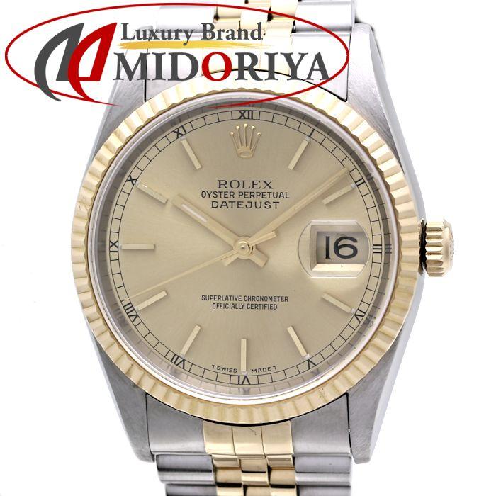 ROLEX ロレックス 16233 デイトジャスト シャンパンゴールド YG/SSコンビ メンズ 自動巻き /35860【中古】 腕時計