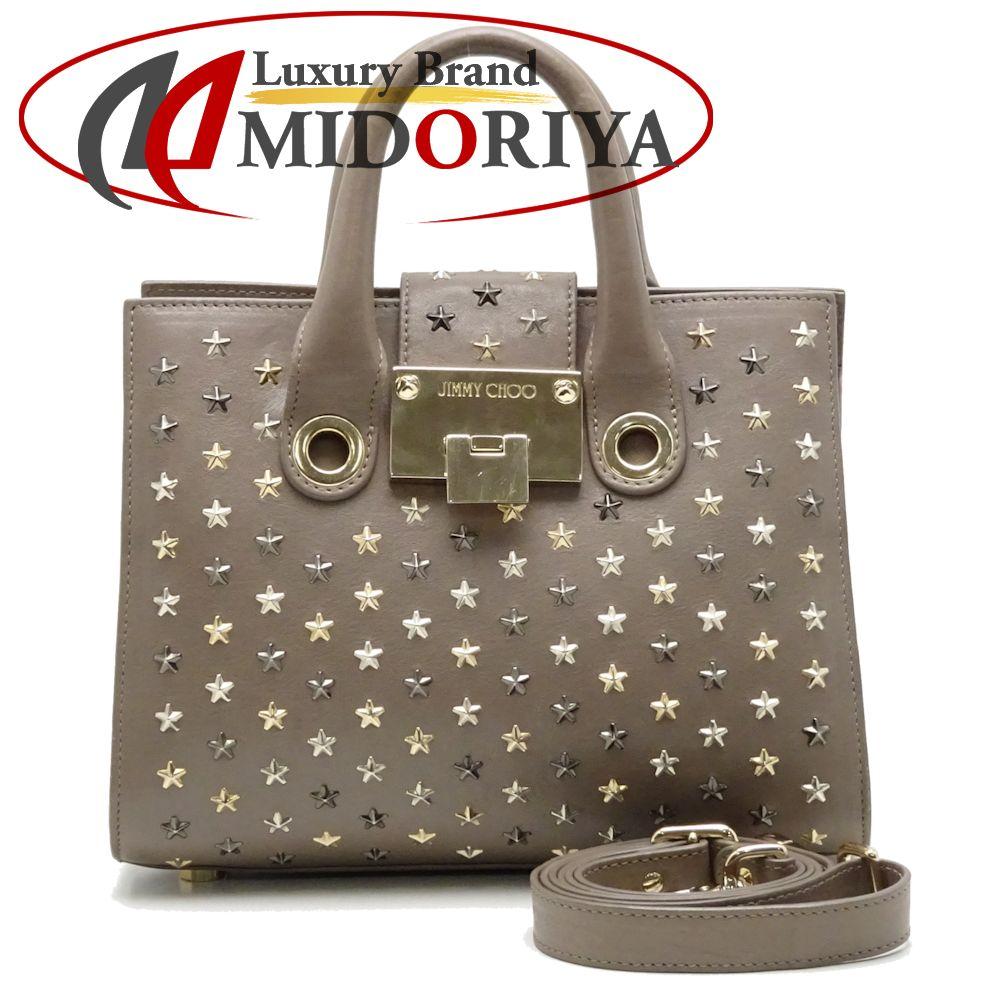 ffac79e96b Authentic JIMMY CHOO 2WAY Riley Handbag Leather Gray /052862 FREE SHIPPING  ...