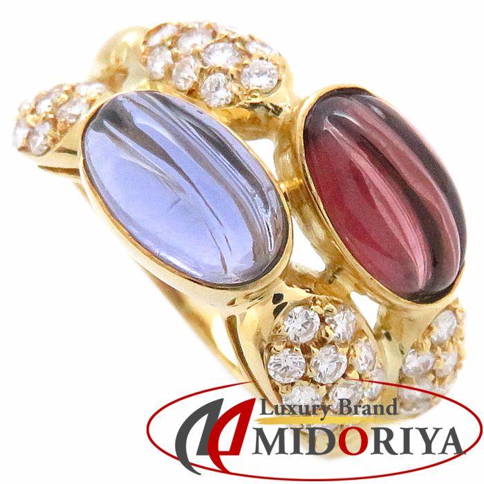 K18YG リング カラーストーン ダイヤモンド0.62ct 11.5号 イエローゴールド 指輪/63316【中古】P_10