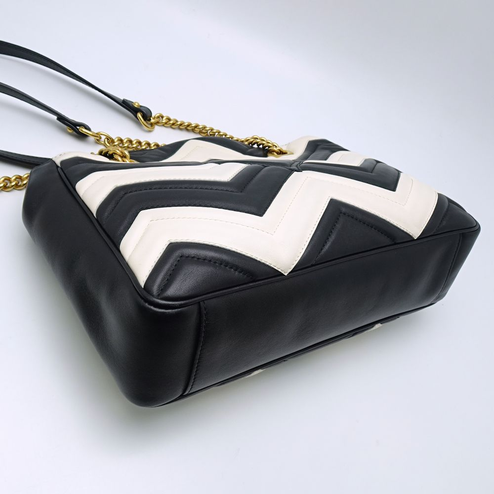 89ef82dfd9a26f ... Authentic GUCCI GG Marmont Chain Shoulder Bag 443501 Leather Black x  White /052989 FREE SHIPPING ...