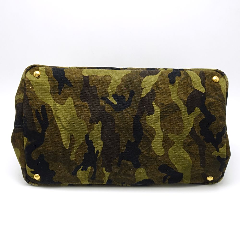 e73ce5091bfb Authentic PRADA Canapa Tote Bag BN2020 Canvas MIMETICO Camouflage  053131  FREE SHIPPING