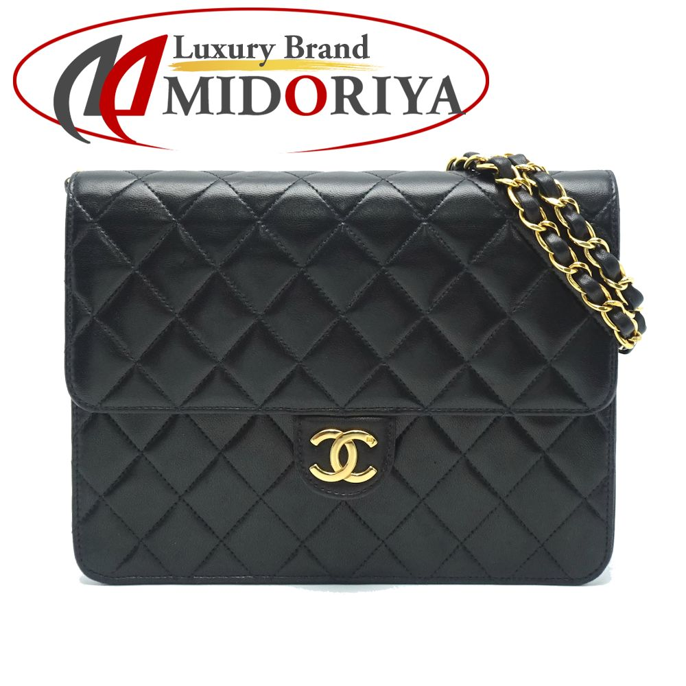 a181372487a Authentic CHANEL Chain Shoulder Bag Single Flap Lambskin Black /053093 FREE  SHIPPING ...