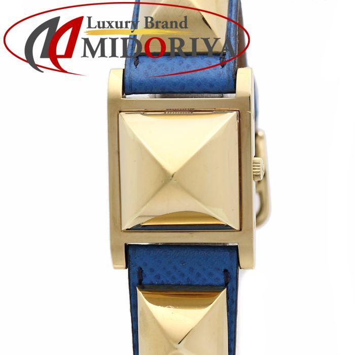 エルメス メドール クシュベル ブルー GP ME1.201 ブルー レディース /35902 【中古】 腕時計