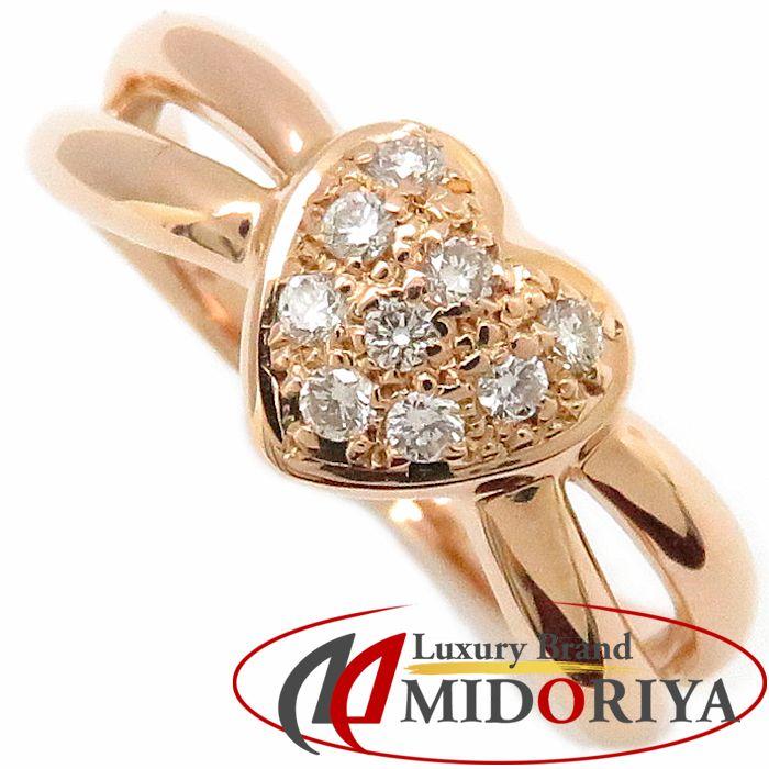 ダイヤモンドリング ハートモチーフ K18PG ダイヤモンド0.13ct 11号 18金ピンクゴールド 指輪 レディース ジュエリー/63321【中古】