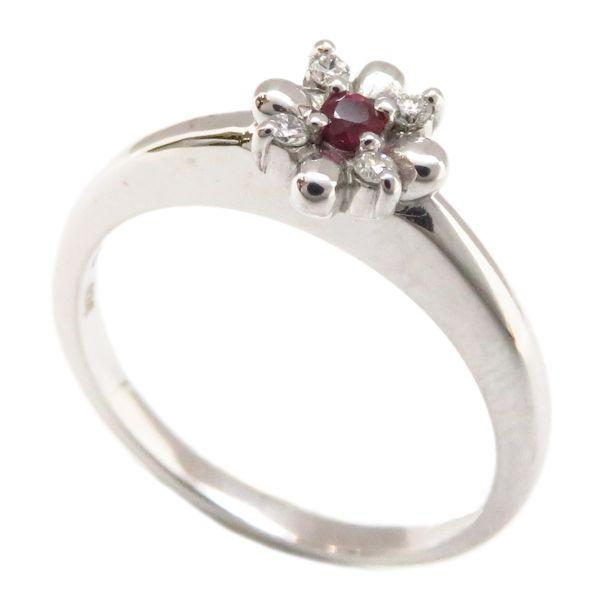 【緊急!大幅値下げ】スタージュエリー リング STAR JEWELRY ルビー ダイヤモンド0.04ct K18YG 11号 18金ホワイトゴールド 指輪/94181【中古】【クリーニング済】