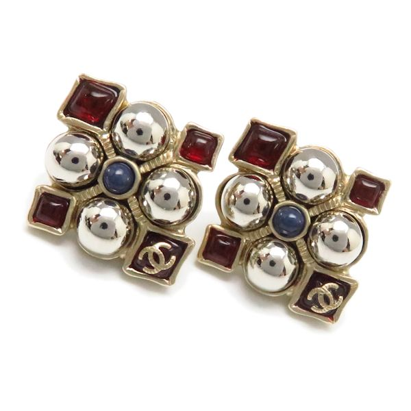 CHANEL Gold Plated Coco Mark Earrings A16S Red /94201