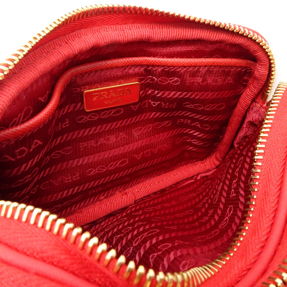a787418f454d Authentic PRADA 2WAY Shoulder Bag 1NF861 Nylon Leather ROSSO Outlet  044222  FREE SHIPPING