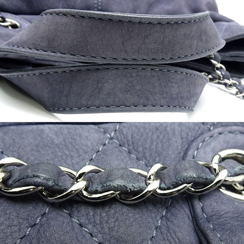 cbd1f2398da4 Chanel CHANEL chain tote bag 2WAY here mark suede cloth blue gray  053514