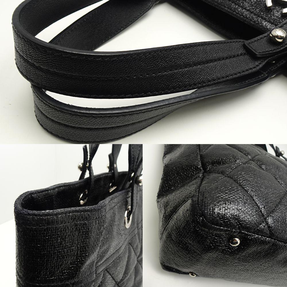 196016d16bd71f ... Authentic CHANEL Paris Biarritz Tote Bag Nylon × Leather Black /053599  FREE SHIPPING ...