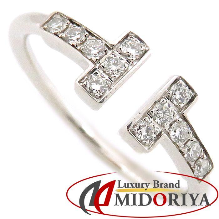 ティファニー Tiffany & Co. Tワイヤー リング ダイヤモンド K18WG 8.5号 750 ホワイトゴールド 指輪/091017【中古】