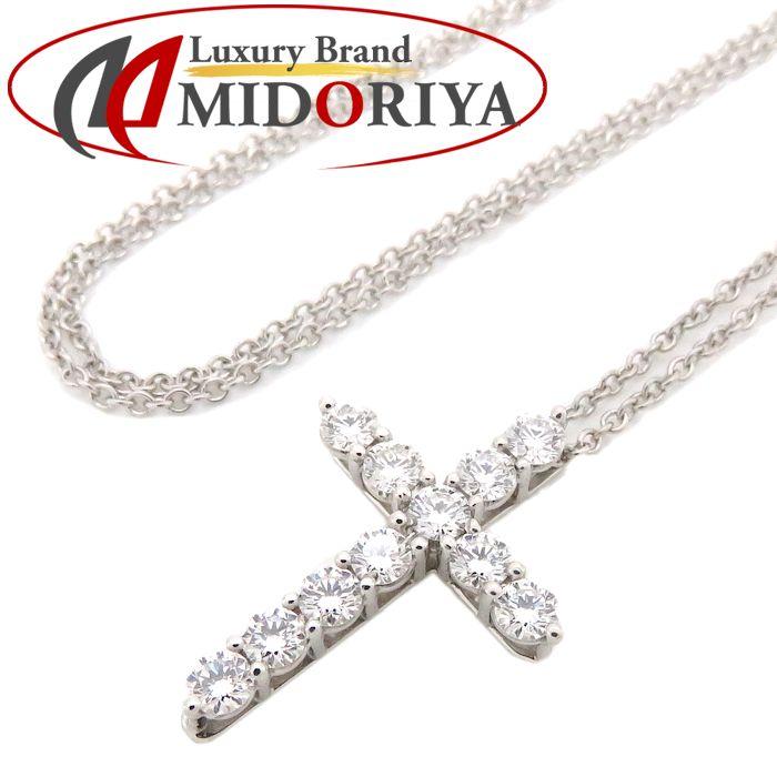 ティファニー Tiffany & Co. スモールクロス ネックレス ダイヤモンド11P Pt950 プラチナ ペンダント/091054【中古】