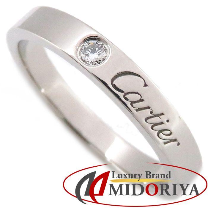 カルティエ Cartier エングレーブドリング 1Pダイヤモンド Pt950 #56 15.5号 指輪 プラチナ /099930 【中古】