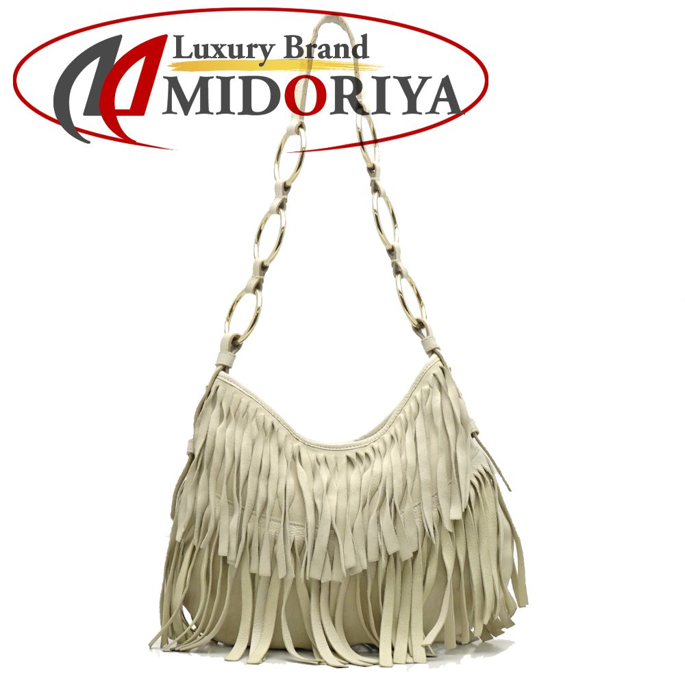 7f88fb72047 Authentic YVES SAINT LAURENT YSL Fringe One Shoulder Bag Suede Off White  /053767 FREE SHIPPING