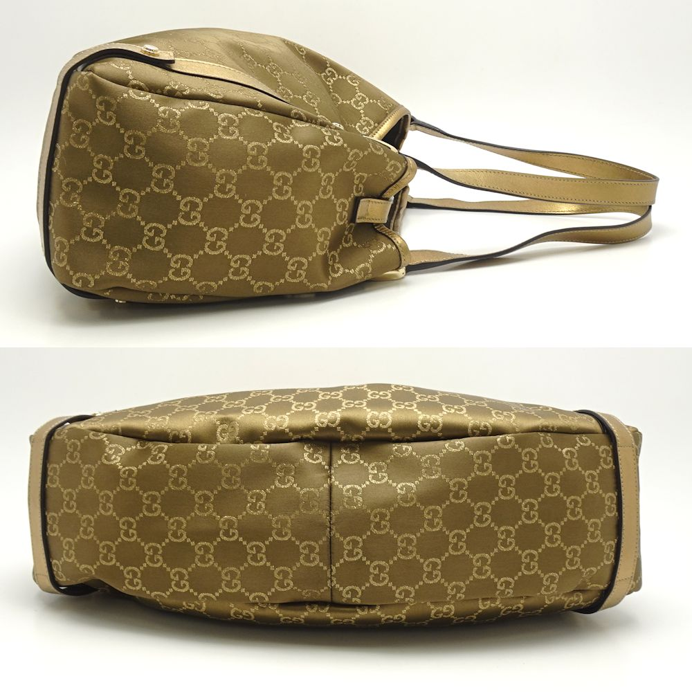 896381a8ff4285 Gucci GUCCI 130736 tote bag GG pattern canvas X leather gold /053902