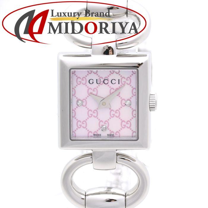 グッチ GUCCI トルナヴォーニ レディース YA120518 ピンクシェル ロゴ ダイヤモンド /36037 【中古】 腕時計