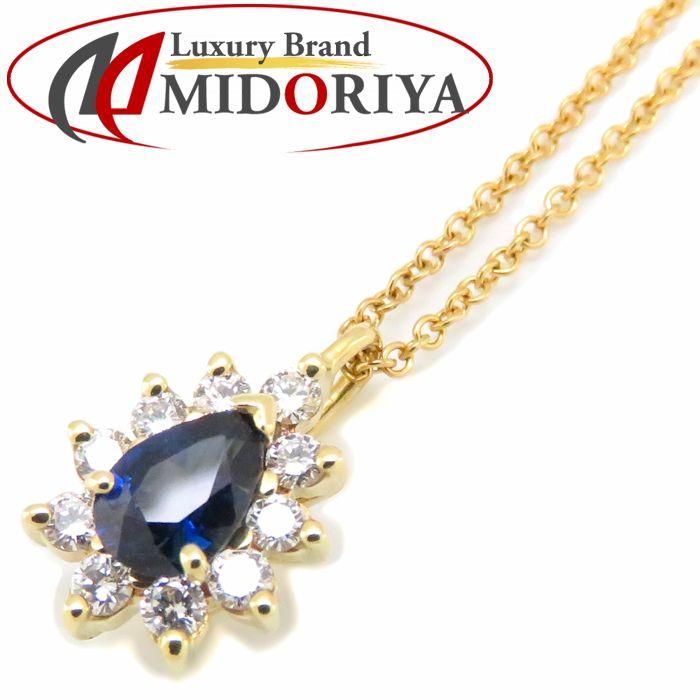 ティファニー Tiffany & Co. ネックレス サファイヤ ダイヤモンド K18YG 750イエローゴールド ペンダント/091413【中古】