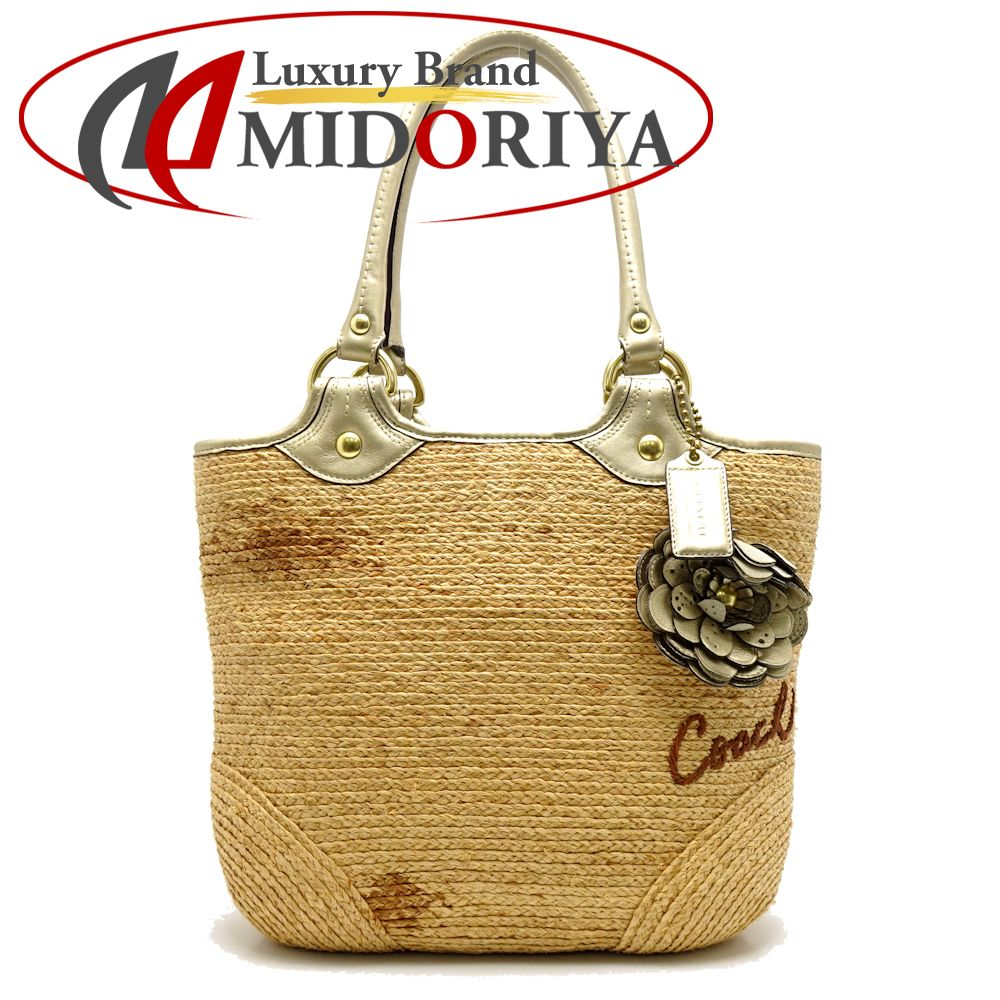 a7c24691e3 Authentic COACH Tote Bag F13373 Straw Beige × Gold Outlet /054097 FREE  SHIPPING