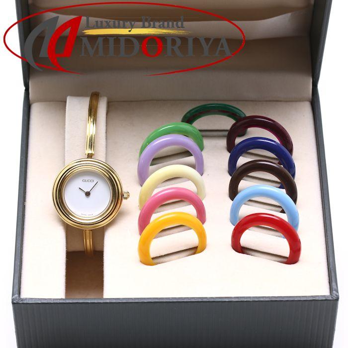 buy popular e17bb d5a78 GUCCI グッチ チェンジベゼル 11/12.2 白文字盤 レディース バングル /36244 【中古】 腕時計 Luxury Brand ...