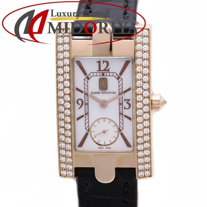 HARRY WINSTON ハリーウィンストン レディアヴェニュー ベゼルダイヤ K18PG 310/LQRL.M/D2.2 シェル レディース /36359 【中古】 腕時計