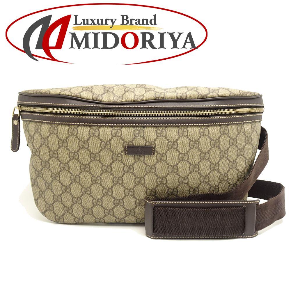 Authentic GUCCI GG Supreme Body Bag Waist Bag 211110 PVC Beige x Brown  /054697 FREE SHIPPING