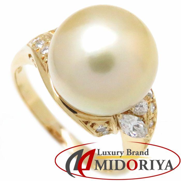 ゴールデンパール リング 真珠 11.5ミリ珠 ダイヤモンド0.22ct K18YG 16号 イエローゴールド 指輪 レディース ジュエリー/63442【中古】【磨き仕上げ済】