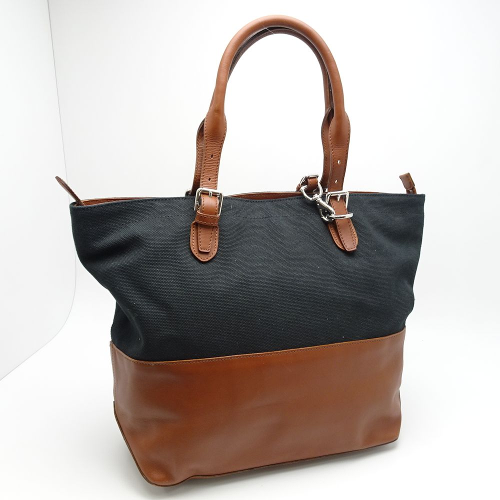 Authentic RALPH LAUREN Tote Bag Canvas x Leather Black Camel  052924 FREE  SHIPPING b1a72805109a7