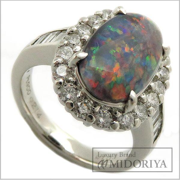 【最大3万円OFF&3倍】指輪 ブラックオパール2.14ct ダイヤモンド1.03ct リング 11号 Pt900/62814【中古】【クリーニング済】