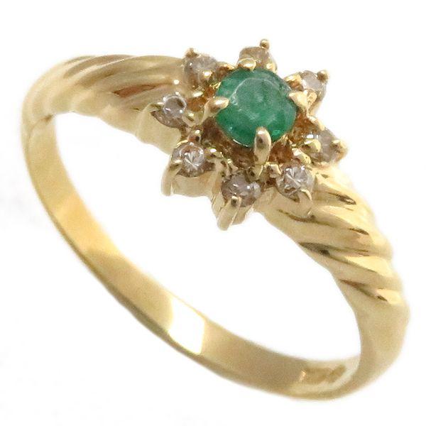 【緊急!大幅値下げ】指輪 エメラルド ダイヤモンド フラワーモチーフ リング 11号 K18YG/62875【中古】【クリーニング済】