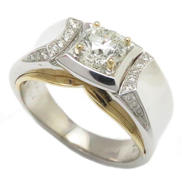 【最大3万円OFF&3倍】指輪 ダイヤモンド1.031ct 0.154ct リング 24.5号 18KWGxYG/62902【中古】【クリーニング済】