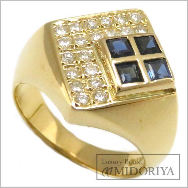【最大3万円OFF&3倍】指輪 サファイヤ0.51ct ダイヤモンド0.243ct リング 12号 K18YG/62935【中古】【クリーニング済】