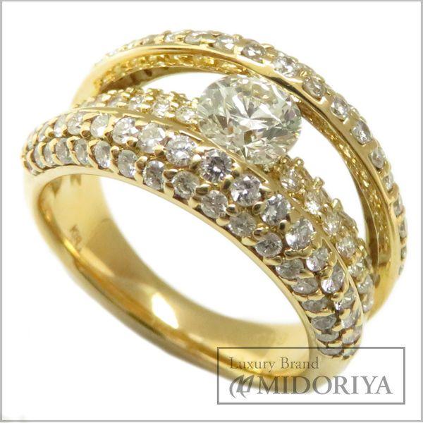 【最大3万円OFF&3倍】指輪 ダイヤモンド1.18ct 0.59ct リング 12号 K18YG/62943【中古】【クリーニング済】