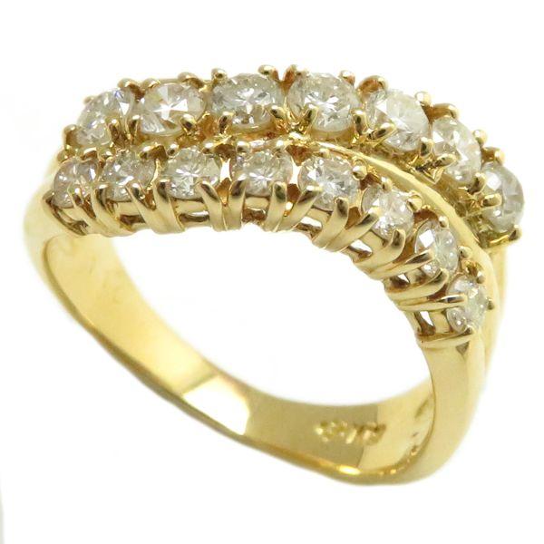 【最大3万円OFF&3倍】指輪 ダイヤモンド1.10ct リング 13号 K18YG/62946【中古】【クリーニング済】