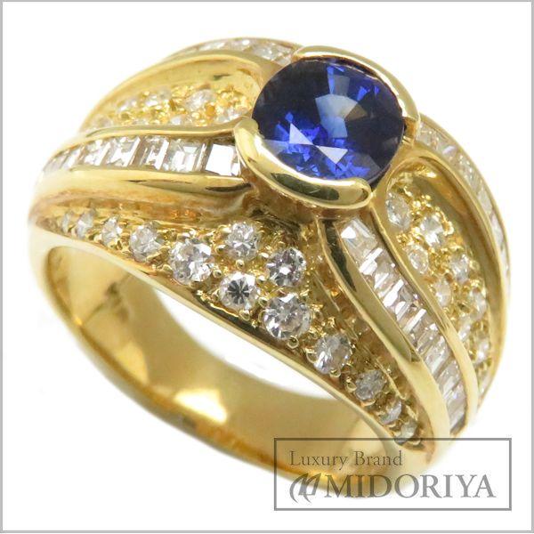 【最大3万円OFF&3倍】指輪 サファイヤ1.166ct ダイヤモンド リング 10号 K18YG/62969【中古】【クリーニング済】