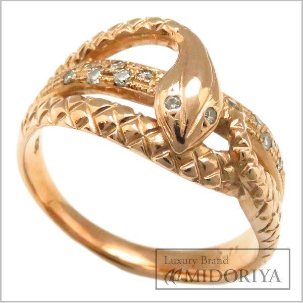 【最大3万円OFF&3倍】指輪 ダイヤモンド0.11ct ヘビモチーフ スネークリング K18PG/63012【中古】【クリーニング済】