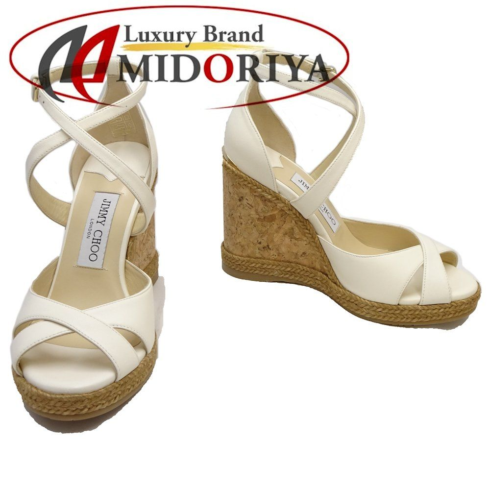 MINT! Authentic JIMMY CHOO Wedge Sandals Size 36 12 Nappa Leather White 046051 FREE SHIPPING